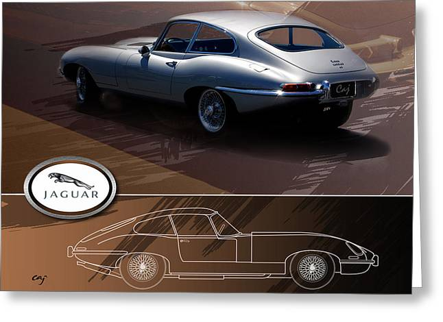 E-montage Greeting Cards - Jaguar E-Type Layout Greeting Card by Curt Johnson