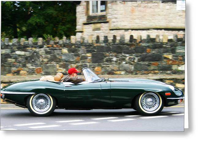 Jaguars Greeting Cards - Jaguar E-Type Sports Car Greeting Card by Nomad Art And  Design
