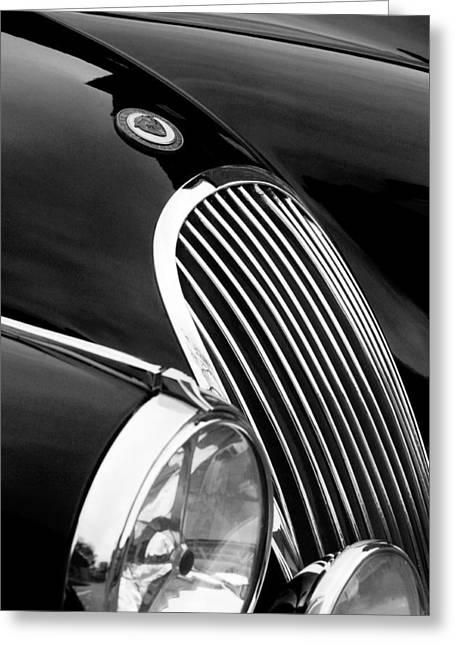 Jaguars Greeting Cards - Jaguar Grille black and white Greeting Card by Jill Reger