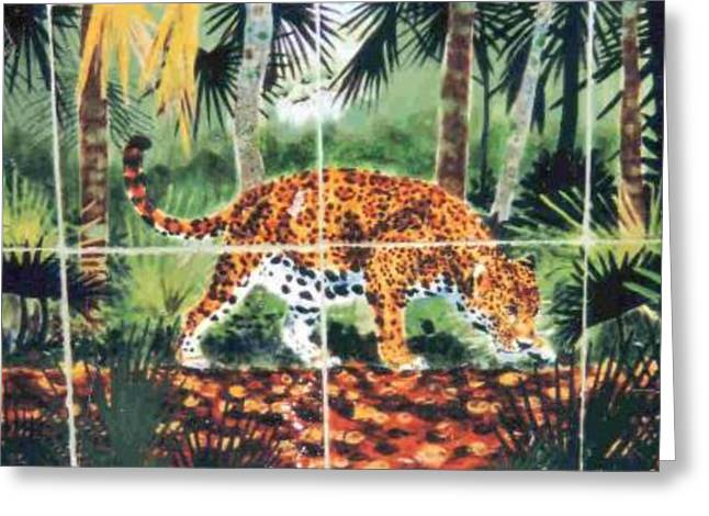 Wildlife Ceramics Greeting Cards - Jaguar on the Hunt Greeting Card by Dy Witt