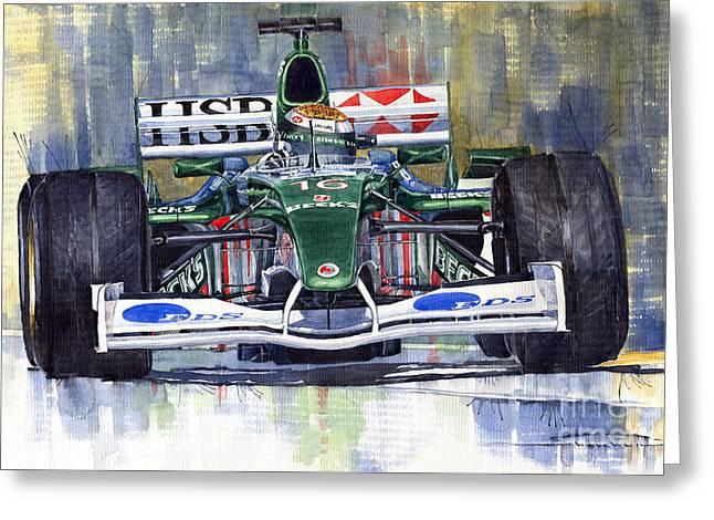 Watercolour Paintings Greeting Cards - Jaguar R3 Cosworth F1 2002 Eddie Irvine Greeting Card by Yuriy  Shevchuk
