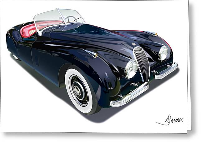 Jaguars Digital Greeting Cards - Jaguar XK 120 on white Greeting Card by Alain Jamar