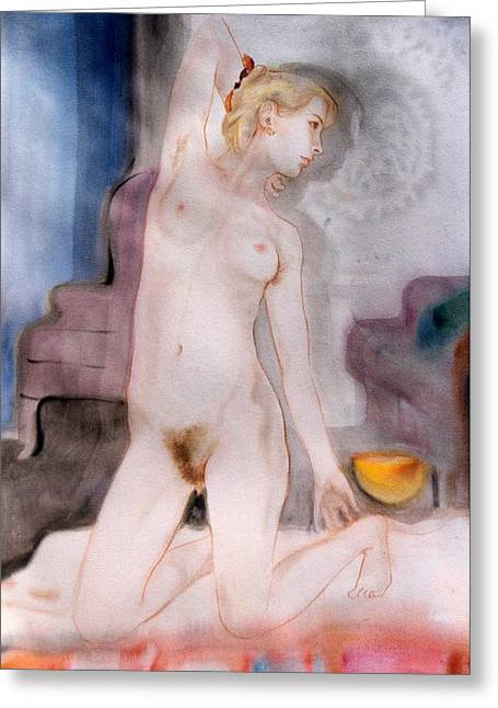 Frontal Nude Greeting Cards - Jaime Yellow Bowl Greeting Card by Scott Cumming