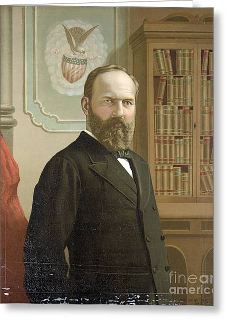 20th President Greeting Cards - James A. Garfield, 20th American Greeting Card by Photo Researchers