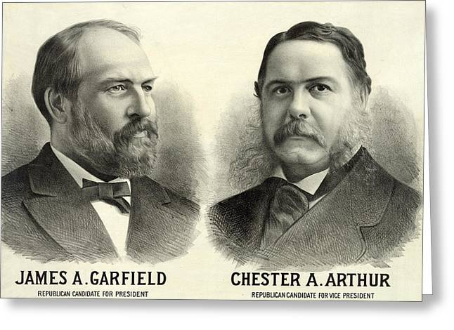 Vice Presidents Greeting Cards - James A Garfield for President and Chester Arthur for Vice President Greeting Card by International  Images