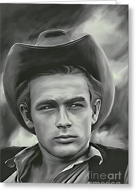 Man Pyrography Greeting Cards - James Dean   Greeting Card by Andrzej Szczerski