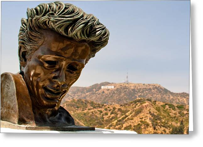 Recently Sold -  - 1955 Movies Greeting Cards - James Dean - Griffith Observatory Greeting Card by Natasha Bishop