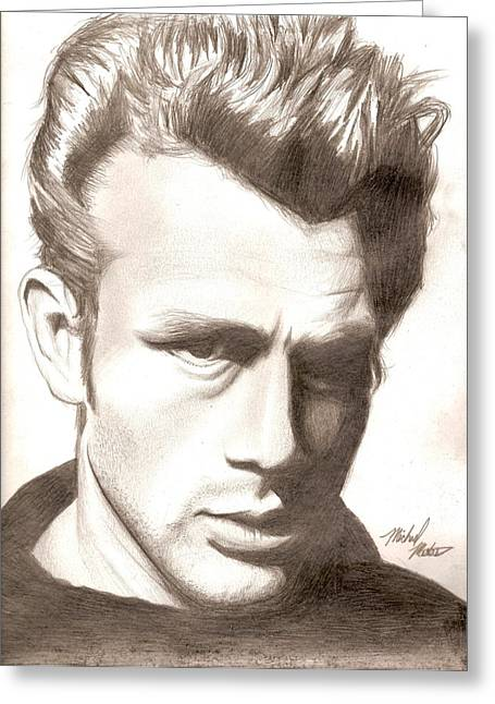 Bad Drawing Mixed Media Greeting Cards - James Dean Greeting Card by Michael Mestas