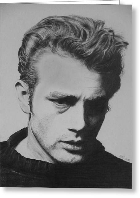James Dean Drawings Greeting Cards - James Dean Greeting Card by Mike OConnell