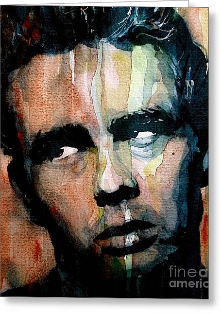 Celebrity Portrait Greeting Cards - James Dean Greeting Card by Paul Lovering