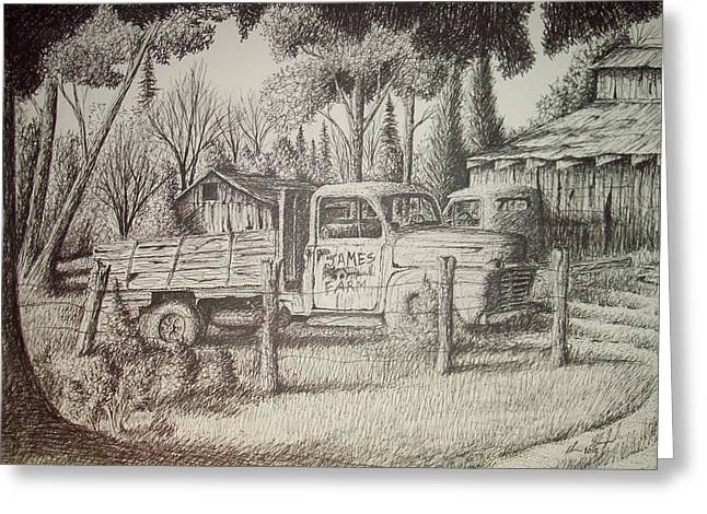 Old Barn Pen And Ink Greeting Cards - James Farm Greeting Card by Chris Shepherd