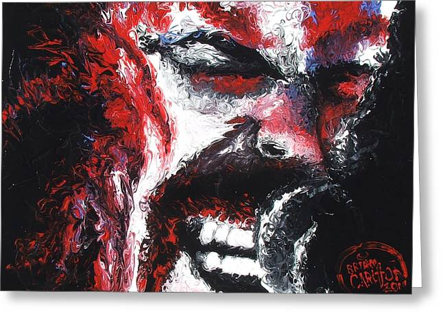 Hyper-realism Paintings Greeting Cards - James Hetfield Greeting Card by Brian Carlton