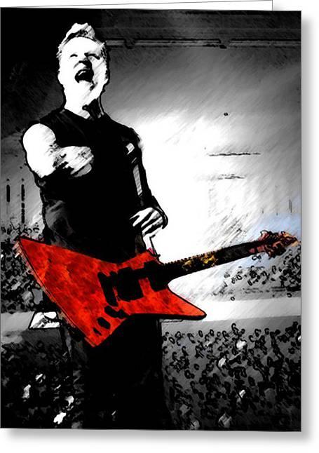 Metallica Greeting Cards - James Hetfield Greeting Card by Rikki Woods