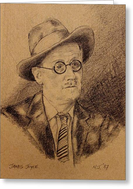 Art Prints Drawings Greeting Cards - James Joyce Greeting Card by John  Nolan