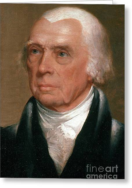 1751 Greeting Cards - James Madison, 4th American President Greeting Card by Photo Researchers