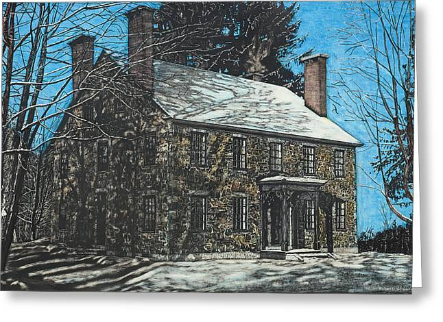 Stone House Drawings Greeting Cards - James Paul House in Durham NH Greeting Card by Robert Goudreau