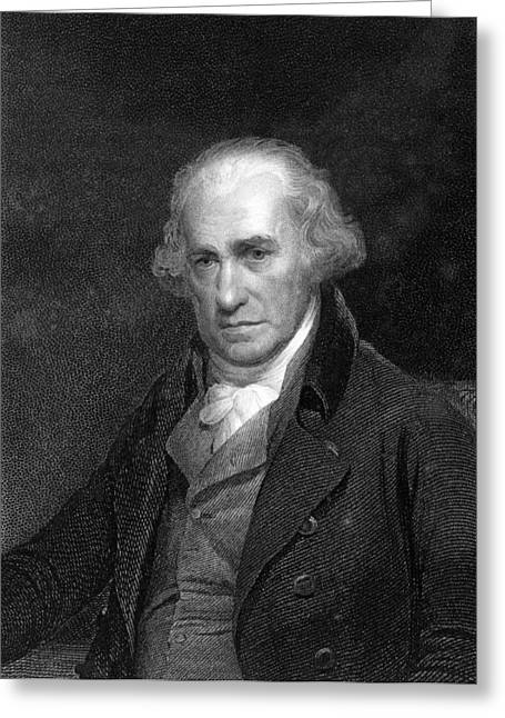 British Portraits Greeting Cards - James Watt, Scottish Engineer Greeting Card by Middle Temple Library