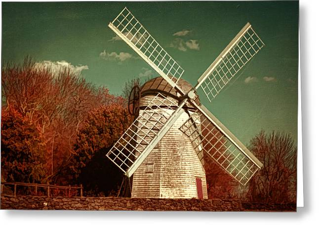 Rhode Greeting Cards - Jamestown Windmill Greeting Card by Lourry Legarde