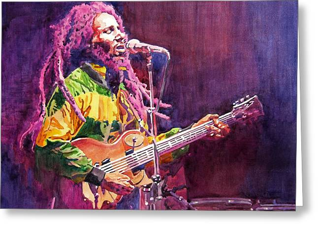 Featured Paintings Greeting Cards - Jammin - Bob Marley Greeting Card by David Lloyd Glover