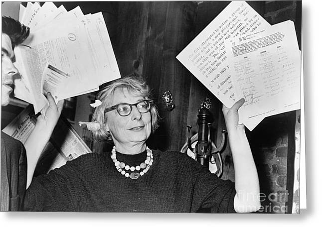 Press Conference Greeting Cards - Jane Jacobs (1916-2006) Greeting Card by Granger