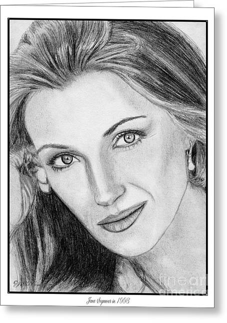Posters Of Women Drawings Greeting Cards - Jane Seymour in 1993 Greeting Card by J McCombie