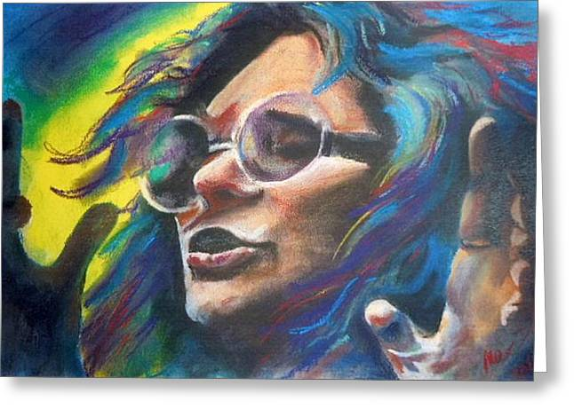 Music Pastels Greeting Cards - Janis Joplin Greeting Card by Mark Anthony
