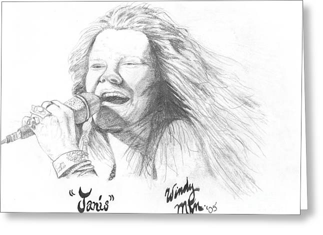 Born Again Drawings Greeting Cards - Janis Greeting Card by Windy Mountain