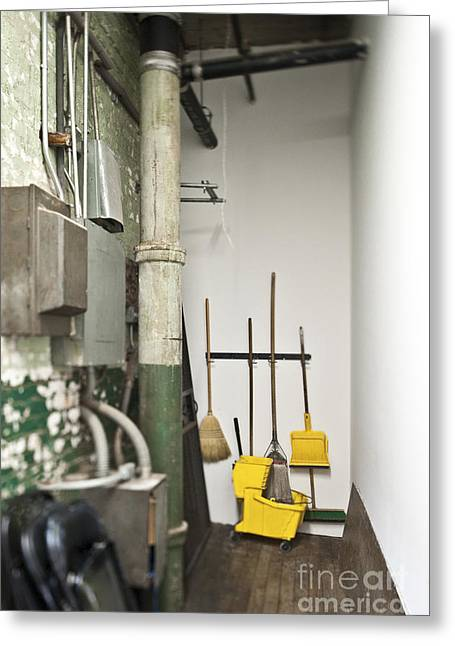 Pan Pipes Greeting Cards - Janitor Closet Greeting Card by Eddy Joaquim