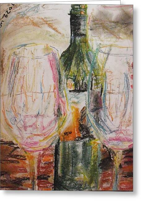 Wine-bottle Pastels Greeting Cards - January 7 Greeting Card by Hannah Curran