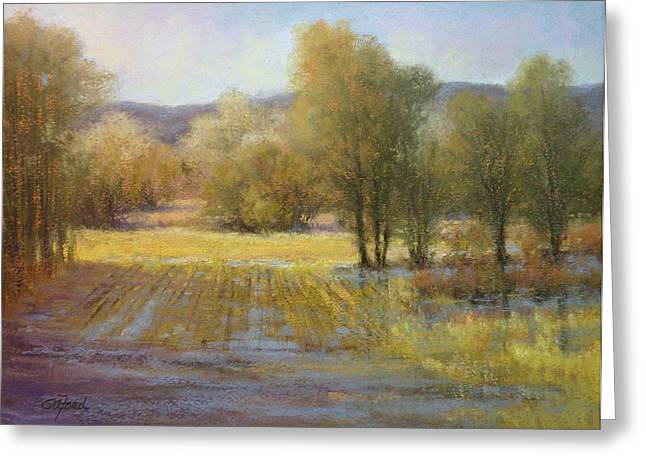 Puddle Pastels Greeting Cards - January Rains Greeting Card by Paula Ann Ford