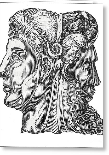 Two Faces Greeting Cards - Janus, Roman God Greeting Card by Photo Researchers