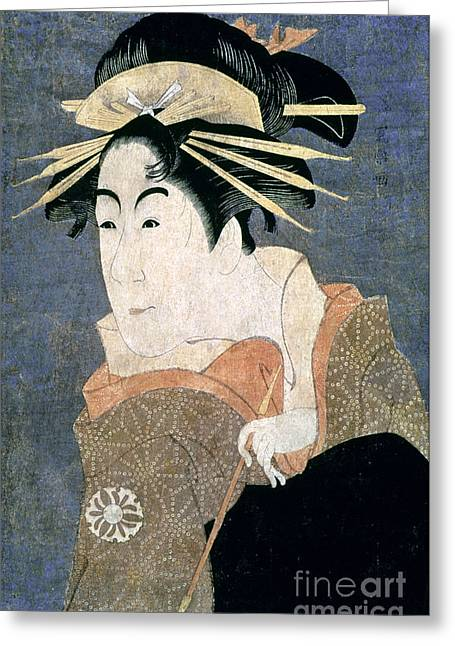 Portrait Woodblock Greeting Cards - JAPAN: ACTOR, c1794 Greeting Card by Granger
