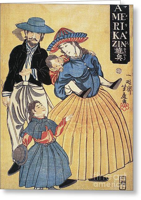 Portrait Woodblock Greeting Cards - Japan: Americans, 1861 Greeting Card by Granger