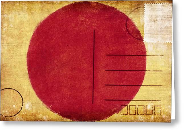 Rag Paper Greeting Cards - Japan Flag Postcard Greeting Card by Setsiri Silapasuwanchai