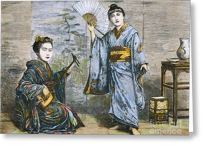1874 Greeting Cards - Japan: Geisha Dancer, 1874 Greeting Card by Granger