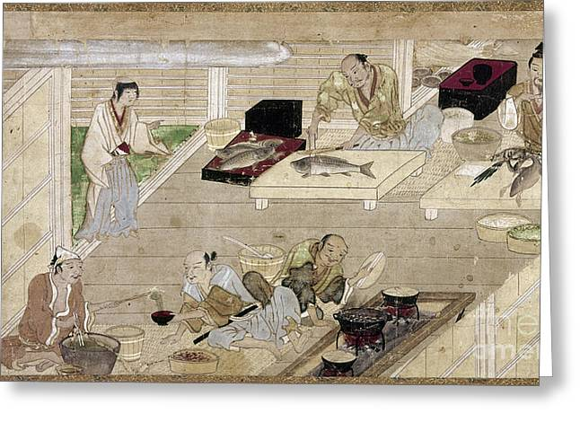 Handscroll Greeting Cards - JAPAN: KITCHEN, c1375 Greeting Card by Granger