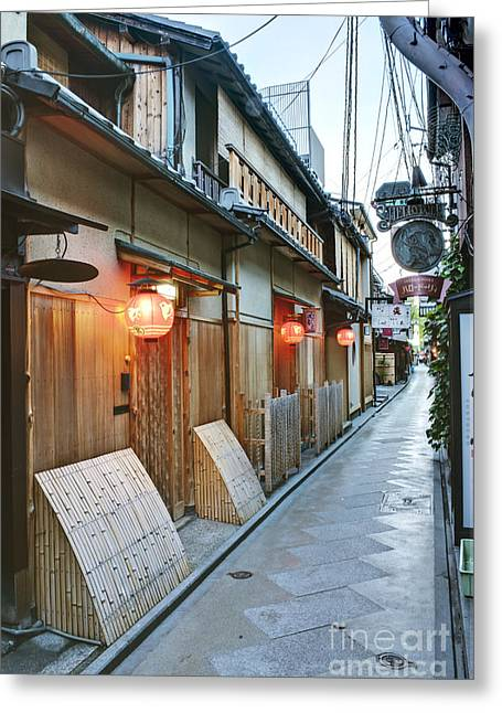Kyoto Greeting Cards - Japanese Alleyway Greeting Card by Rob Tilley