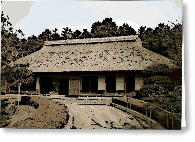 Bamboo House Greeting Cards - Japanese Architecture Greeting Card by George Pedro
