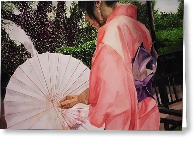 Purple Robe Greeting Cards - Japanese Based Greeting Card by Kodjo Somana