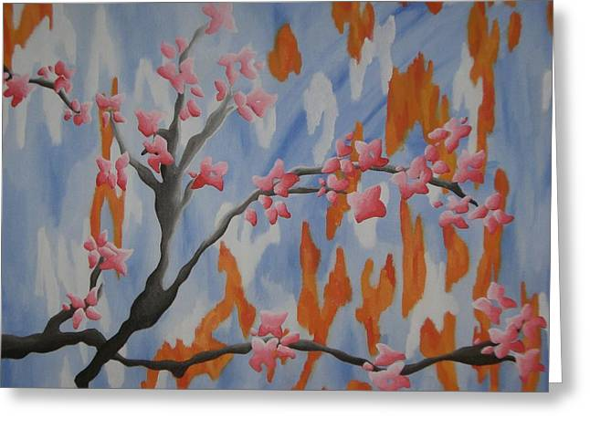 Japanese Cherry Blossoms Greeting Card by Joanna Leack