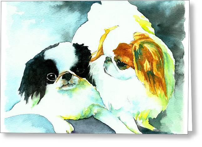 Japanese Chin Dog Greeting Card by Christy  Freeman