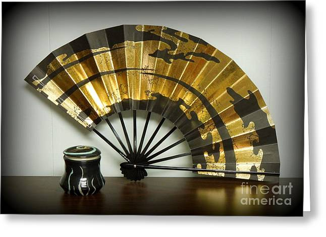 Japanese Fan And Pot Greeting Card by Renee Trenholm