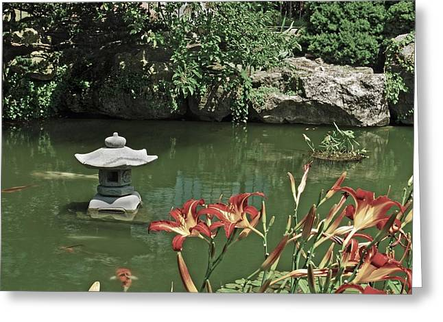 Belle Isle Greeting Cards - Japanese Garden Belle Isle Greeting Card by Michael Peychich