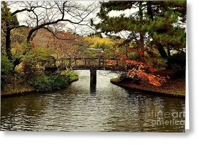 Changing Colour Greeting Cards - Japanese Garden in Autumn 1 Greeting Card by Dean Harte