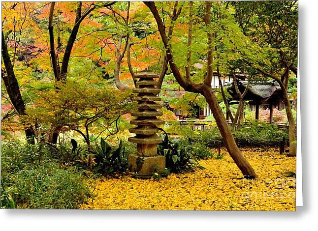 Changing Colour Greeting Cards - Japanese Garden in Autumn 6 Greeting Card by Dean Harte
