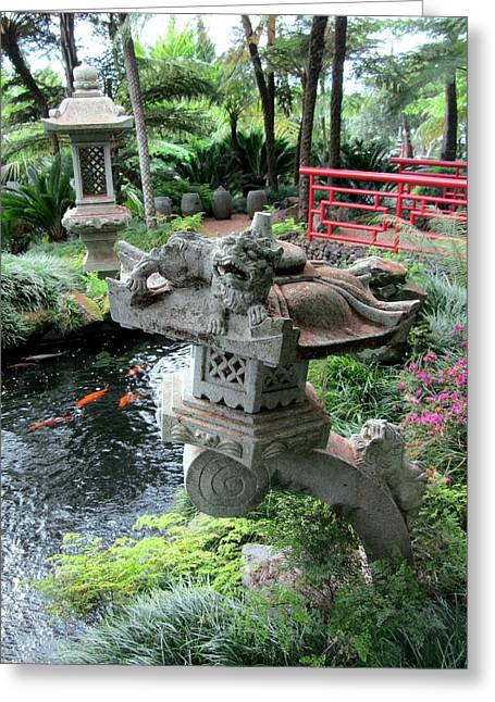 Creature Design Greeting Cards - Japanese Garden, Madeira Greeting Card by Tony Craddock