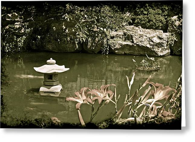 Belle Isle Greeting Cards - Japanese Garden Greeting Card by Michael Peychich