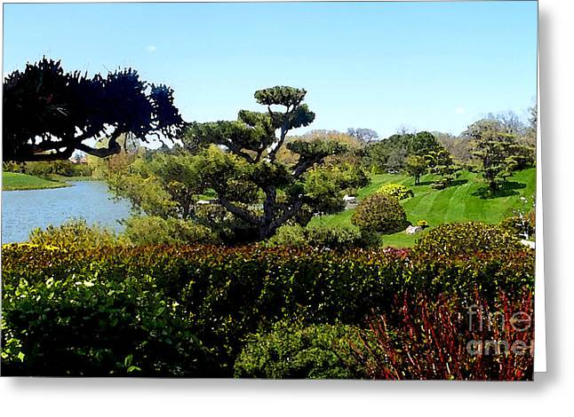 Plants Greeting Cards - Japanese Garden Painting 1 Greeting Card by Nancy Mueller
