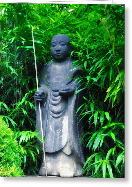 Bamboo House Greeting Cards - Japanese House Monk Statue Greeting Card by Bill Cannon