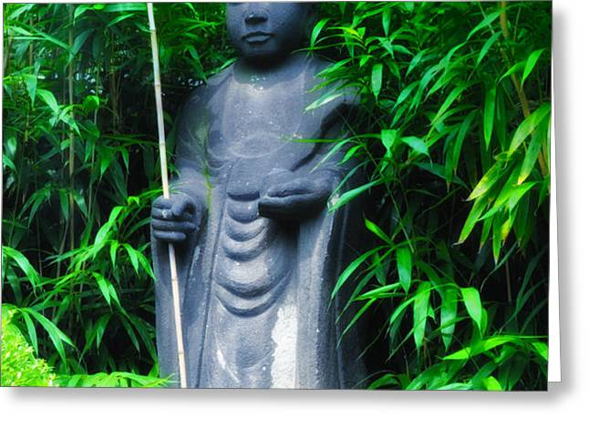Japanese House Monk Statue Greeting Card by Bill Cannon